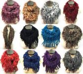 36 Units of Knitted Infinity Circle Scarves with Long Fringes - Winter Scarves