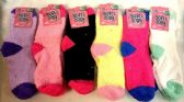 96 Units of Solid Color Ladies' Fuzzy Socks Assorted - Womens Fuzzy Socks