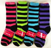 96 Units of Lady's Girls Long Socks with Black Stripes - Womens Knee Highs