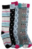 6 Pairs Of Mod And Tone Woman Designer Knee High Socks, Boot Socks (Pack F) - Womens Knee Highs