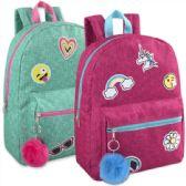 "24 Units of 16.5 Inches Kids Backpack With Bonus Key Chain - Girls - Backpacks 16"""