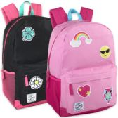 24 Units of 18 Inch Patches Backpack With Side Pockets - Girls - Backpacks 16""