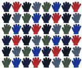 120 Units of Assorted Kids Gloves In Many Colors - Knitted Stretch Gloves