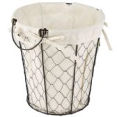 24 Units of Wire Basket With/cotton Liner Round 9.75 height X 9.5 diameter - Waste Basket