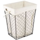 24 Units of Wire Basket W/cotton Liner Rectangle 10x8x12 Height Sleeve Card - Waste Basket