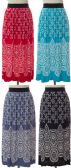 24 Units of Women's Pleated Printed Maxi Skirts - Womens Skirts
