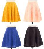 24 Units of Women's Floral Embossed Skater Skirt - Womens Skirts