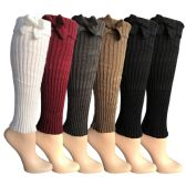 Womens Leg Warmers, Warm Winter Soft Acrylic Assorted Colors by WSD  (Bow) - Womens Leg Warmers