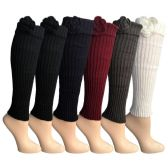 6 Pairs of Womens Leg Warmers, Warm Winter Soft Acrylic Assorted Colors by WSD (Flower) (One Size) - Womens Leg Warmers