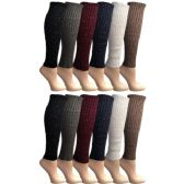 12 Pairs of Womens Leg Warmers, Warm Winter Soft Acrylic Assorted Colors by WSD (Sparkle Studs) (One Size) - Womens Leg Warmers