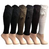 6 Pairs of Womens Leg Warmers, Warm Winter Soft Acrylic Assorted Colors by WSD (Bow & Pom) (One Size) - Womens Leg Warmers