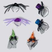 48 Units of Headband Deluxe 3 Asst Styles Spider Witch Top Hat Minis - Halloween & Thanksgiving