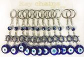 60 Units of Wholesale Evil Eye with Turtle Key Chain - Key Chains