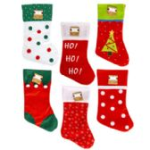 48 Units of Stocking 18in Felt 6asst Novelty Designs Christmas - Christmas Decorations