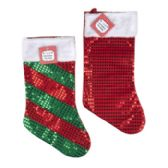 24 Units of Stocking Sequin W/plush Cuff 14 Solid Red/10 Diag Stripe 18in Long - Christmas Decorations