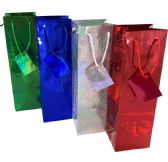 48 Units of PARTY SOLUTIONS HOLOGRAPHIC GIFT BAG WINE BOTTLE - Gift Bags