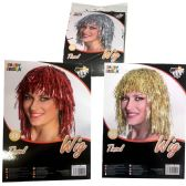 48 Units of PARTY SOLUTIONS TINSEL WIG 3 ASSORTED COLORS - Halloween & Thanksgiving