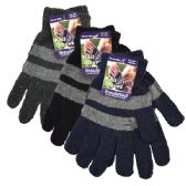 36 Units of Gloves Men Stripes Assorted Colors - Knitted Stretch Gloves