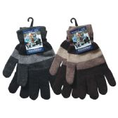 60 Units of Winter Men Knit Glove Stripes - Knitted Stretch Gloves
