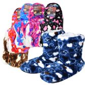 36 Units of Fuzzy Slipper boots Hearts Assorted Colors - Women's Slippers