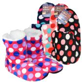 36 Units of Fuzzy Slipper boots Polka Dots Assorted Colors - Women's Slippers