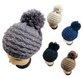 24 Units of Knitted Sequined Beret with PomPom - Winter Beanie Hats