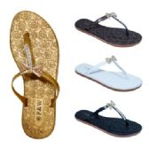 60 Units of Ladies Rhinestone Bow Flip Flops - Women's Flip Flops