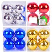 "36 Units of PARTY SOLUTIONS XMAS BALLS 2.5"" 4 PK ASTD COLORS - Christmas Decorations"