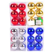 """36 Units of PARTY SOLUTIONS XMAS BALL 2"""" 6 PK ASTD COLORS - Christmas Decorations"""