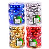 """24 Units of PARTY SOLUTIONS XMAS BALL 1.5"""" 20 PK ASTD COLORS - Christmas Decorations"""