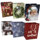 "72 Units of HOLIDAY GIFT BAG MEDIUM 7""WX4D""X9H"" ASTD DESIGNS - Christmas Gift Bags and Boxes"