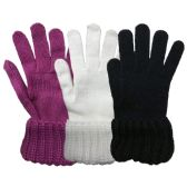 3 Pack Womens Chunky Knit Cuff Warm Winter Glove - Winter Gloves