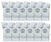 12 Pairs Value Pack of Wholesale Sock Deals Childrens Crew Socks White, 4-6 - Boys Socks