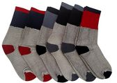 6 Pairs Of excell Womens Winter Warm Thermal Socks With Color Heel And Toe - Womens Thermal Socks