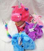 24 Units of Plush Unicorn Hat Short - Winter Animal Hats