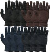 SOCKSNBULK Mens and Womens Warm And Stretchy Winter Gloves (Mens 12 Pairs Solids) - Knitted Stretch Gloves