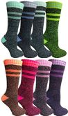 8 Pairs of Thermal Tube Socks, Warm Terry Cushioning Boot Sock, Mens or Womens by WSD (9-11, Assorted A) - Womens Thermal Socks
