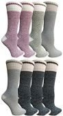 8 Pairs of Thermal Tube Socks, Warm Terry Cushioning Boot Sock, Mens or Womens by WSD (8 Pairs Assorted C, Womens 9-11) - Womens Thermal Socks