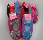120 Units of Ladies Slipper Socks With Bow - Womens Slipper Sock