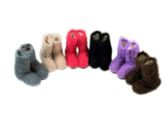 60 Units of Ladies Colorful Fuzzy Slipper Boot With Rubber Grip - Womens Slipper Sock