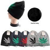 36 Units of Plush Lined Knit Beanie CANNABIS Large Leaf, Warm winter beanie - Winter Beanie Hats