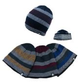 36 Units of Plush-Lined Knit Beanie Wide Stripes, Thick warm lining - Winter Beanie Hats