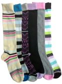 6 Pairs Of Mod And Tone Woman Designer Knee High Socks, Boot Socks (Pack B) - Womens Knee Highs