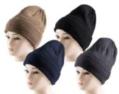 72 Units of Sherpa Lined Winter Beanie Hats Unisex Thermal Faux Fur Line - Winter Beanie Hats