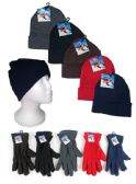 120 Units of Premium Adult Cuffed Knit Hats and Women's Fleece Gloves Combo Packs - Winter Sets Scarves , Hats & Gloves