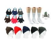 180 Units of Adults Cuffed Winter Knit Hats and Magic Gloves Combo Packs - Winter Sets Scarves , Hats & Gloves