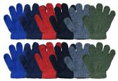 12 Units of SOCKSNBULK Kids Warm Winter Colorful Magic Stretch Gloves (Pack G) - Knitted Stretch Gloves