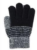 144 Units of Kids Winter Stripe Pattern Gloves With Fur Inside - Kids Winter Gloves