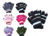 144 Units of Kids Winter Stripe Pattern Gloves With Fur Inside - Knitted Stretch Gloves