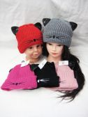 36 Units of Kitty Whisker Beanie Hat With Sequin Ear's - Winter Beanie Hats
